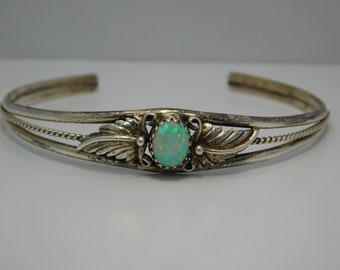 Sterling Opal Cuff Bracelet