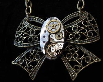 Steampunk necklace RIBBON filigree antique mechanism (A349)