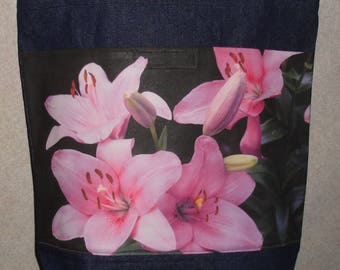 New Handmade Pink Lily Lilies Flowers Original Photograph Photo Large Denim Tote Bag