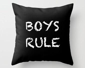 Boys Rule Pillow, Velvet Cushion Cover 18x18 or 22x22, Boys Room Decor, Kids Pillows, Boys Bedroom, Kids Room Decor, Black and White
