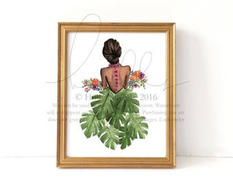 In the Garden (Choose your haircolor/skintone) Fashion Illustration Print