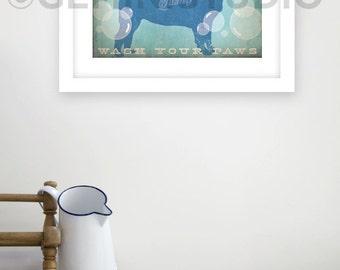 Pug DOG soap company bathroom washroom dog artwork giclee archival signed artists print