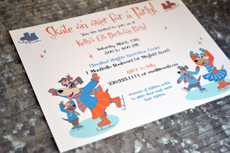 Kids Puppy Dog Ice Skating Party Invitations / Kids Skating
