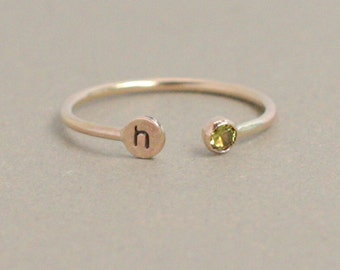 personalized SOLID 14k GOLD initial dual birthstone ring. gemstone stacking ring. birthstone ring. mothers ring. horseshoe ring. letter ring