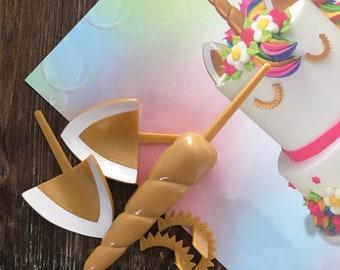 Unicorn Horn Cake Horn Ears & Eye Lashes for Instant Wow