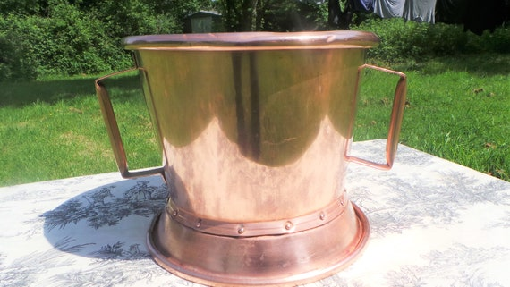 Champagne Bucket Vintage French Copper Water Carrier Normandy 'Ferrat' France Copper Tub Copper Wine Cooler Hand Made Rivets Banding