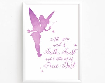 Tinkerbell quotes etsy sale 50 off tinkerbell watercolor printable peter pan home decor disney quote nursery voltagebd Choice Image