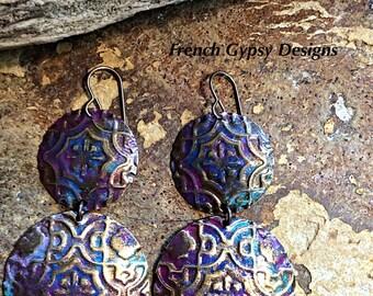 Gypsy/Boho Style Embossed Metal Earrings