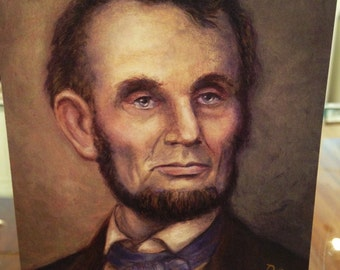 President Abraham Lincoln Blank Card  -  Ponte's Historic Figures Art Cards