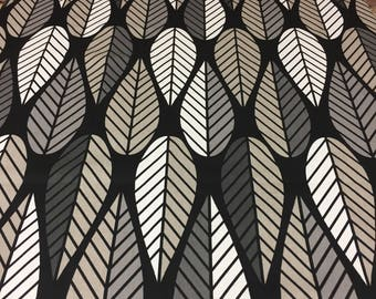 Tablecloth black gray khaki beige striped leaves, modern tablecloth, Scandinavian design