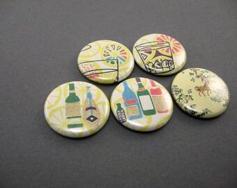 Retro Yellow Kitchen Magnets Lemonade Wine Horse - 5 fridge magnets - Magnabilities friendly - 1203