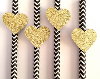12 Black Chevron Paper Straws with Gold Glitter Heart - Birthdays - Bachelorette Party - Engagement Party