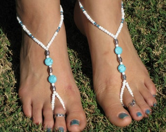 White, Silver and Turqouise Barefoot Sandals, Slave Anklet, foot thong, ankle bracelet with toe ring