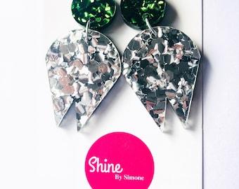 Statement Earrings , Silver Earrings , Acrylic Earrings , large earrings , big earrings , glitter earrings , acrylic jewelry , green studs