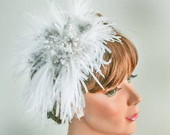 Bridal Headpiece Ostrich Feather Fascinator / Feather Bridal Comb / Moonstone  and Pearl Flower Silver Leaf / Fairy Renaissance Fesival