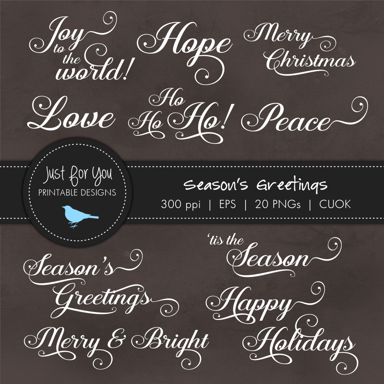 Christmas Holiday Greeting Clip Art Clipart Words Typography Eps