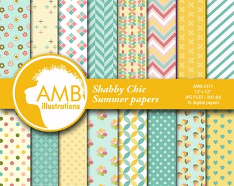 Summer papers, Geometric papers, floral Papers, Shabby Chic papers, floral patterns, digital paper,  AMB-2371