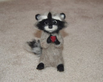 Adorable Raccoon felted toy