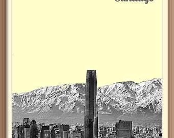 Santiago Chile       Skyline Poster