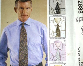 Men's Shirt with 4 collar styles in chest sizes 46 to 48 or 117cm-122cm - McCall's 2638
