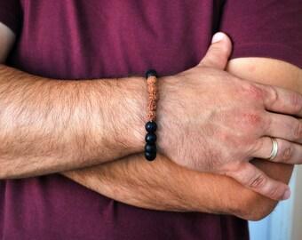 Mens bracelet , Onyx bracelet , Beaded bracelet , Boyfriend gift , Healing bracelet , Onyx men , For men , Black onyx bracelet , Rudraksha