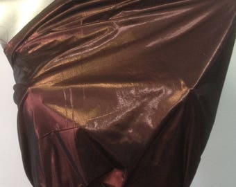 Tissue Lamé Lurex metallic collar copper Opaque with metallic Sheen fabric.