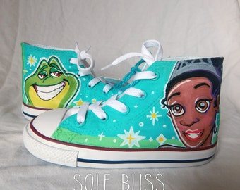 Princess and the Frog Converse High Top Toddler Painted Shoes- Vans/Toms- SoleBlissCo
