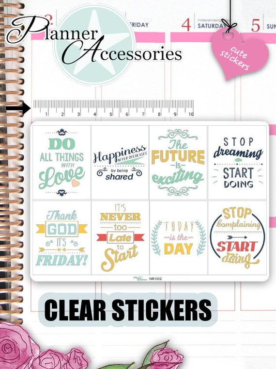 Clear quote stickers motivational sticker fullboxes stickers