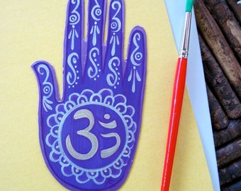 Henna, Mehndi Hand, magnet, OM,  Aum, lavender and silver, Made to Order