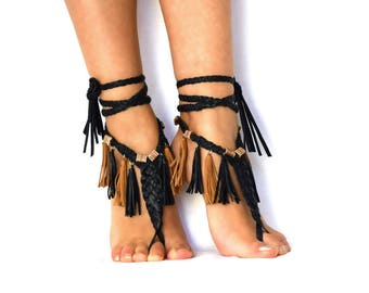 Burning Man Leather Barefoot Sandals Pocahontas Warrior AnkletsWastelandsteampunk Cosplay