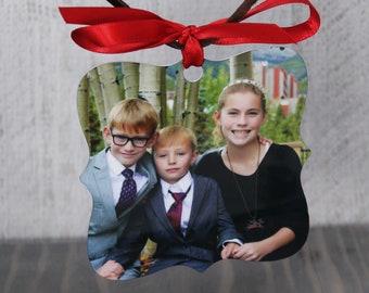 Photo Ornament, Custom Ornament, Christmas Decoration, Wood Texture Christmas Ornament, Photograph Ornament, Personalized Christmas