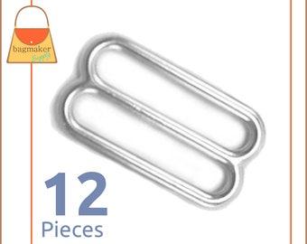 "1.25 Inch Slides for Purse Straps, Nickel Finish, 12 Pieces, Handbag Purse Making Hardware Supplies, 1.25"", 1-1/4 Inch, 1-1/4"", SLD-AA015"