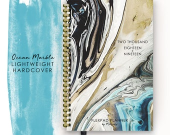 2018 2019 Planner Mid Year FlexPad Edition, Light Weight Hardcover Agenda Calendar with Ocean Marble Cover Design