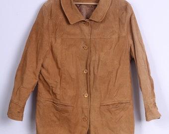 Womens UK 20 46 XL Leather Jacket Camel Single Breasted Shoulder Pads Retro Coat