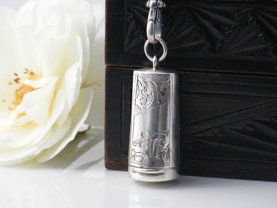 1905 Sterling Silver Chatelaine Case Locket | Antique Chatelaine Case, Hinged Lid | Full English Hallmarks - 30 inch Silver Chain, Fob Clip