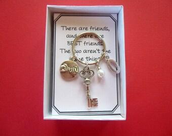 Personalized Pinky Swear Key Ring, Key With Initial Charm Key Ring, Pinky Swear Key Chain, Key Key Chain, Initial Key Ring, Personalized K18
