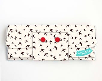 Vinyl Long Wallet - The Birds / teal and red, vegan, pretty, large wallet, clutch, card case, vinyl wallet, woman, birds, hitchcock, clouds