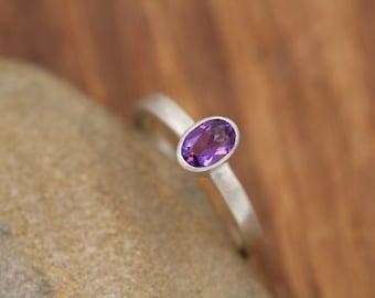 Amethyst Oval Bezel Ring - 4x6mm Matte Finish Ring - Oval Amethyst Ring - Grape Amethyst Sterling Silver Ring