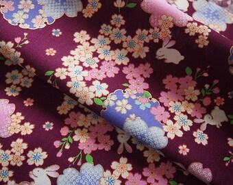 Japanese traditional Sakura and rabbit gold 110 * 50 cm