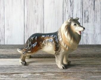 Collie Figurine Dog Bone China Dog Collectible Lassie Dog Statue Cute Dog