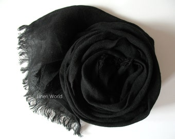 Black Linen Scarf Unisex 100% Linen Scarf for Men Women | Organic Natural Flax Shawls | Men's Scarf Christmas Gift for Him Boyfriend Husband