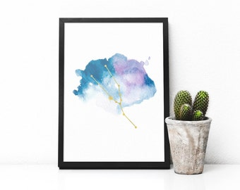 Printable Taurus constellation artwork, Zodiac Taurus print, Blue watercolor art and gold, Taurus star sign, Astrology art