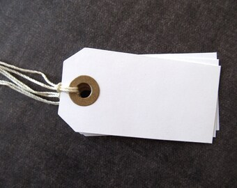 White Tags, Kraft Reinforcements, Prestrung, Party Favor Tags, Weddings, Showers, Set of 20