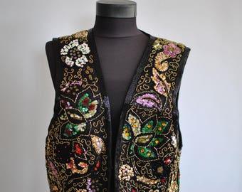 Vintage SEQUIN VEST , women's elegant vest............