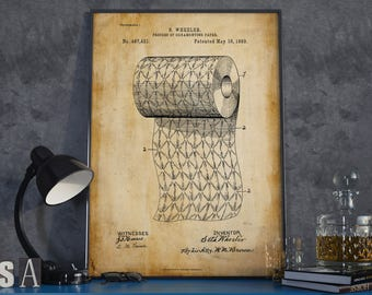 Toilet Paper Poster| Toilet Paper| Christmas Gift| Bathroom Wall Art| Restroom Decor| Powder Room Art| Toilet Art| Patent Art| HPH434