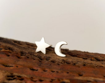 Tiny Moon and Star Earrings 14k solid Gold Crescent Moon Rose Golf Post Earring Star Crescent Moon Jewelry Rose Gold Moon Valentine gift