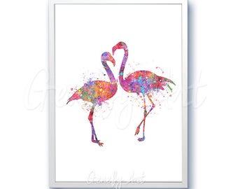 Flamingo Watercolor Art Print  - Flamingo Love Watercolor Painting -Watercolor Art Painting - Bird Poster - Home Decor House Warming Gift