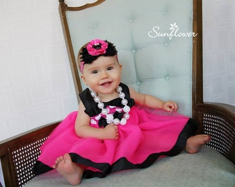 Pink Minnie Dress: pink & white polka dots with black, lined tutu dress, easy on and off wrap around, birthday party or vacation