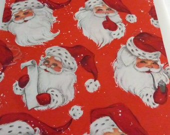 Vintage Mid Century Christmas Single Sheet Wrapping Paper Cute Santa Heads