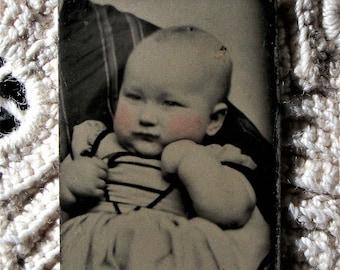 GEM Tintype - Baby on Hidden Mother's Lap